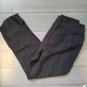 Forever 21 Black Linen Ankle Dress Pants